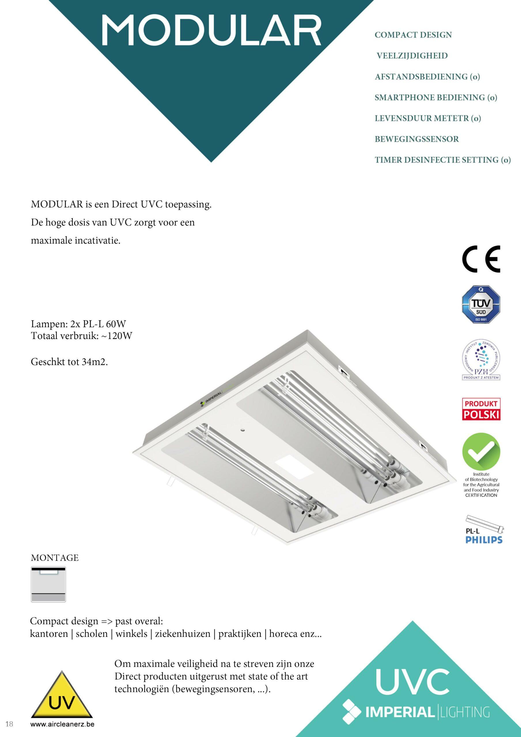 aircleanerz, zuivere lucht, gezuiverde lucht, corona, uv-licht, antibacterieel, modular type
